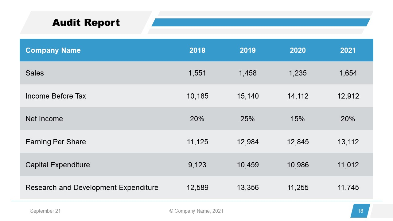 Corporate Annual Report Template of Audit Report