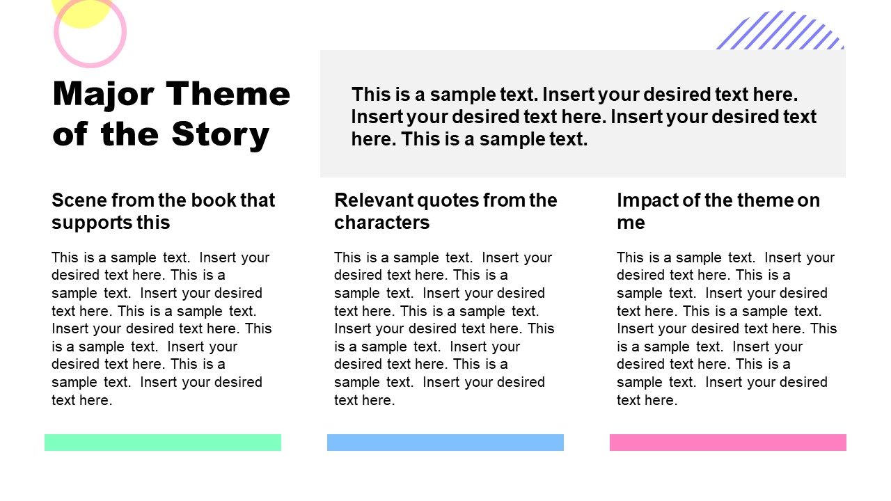 PPT Book Report Template for Analyze Tertiary Characters