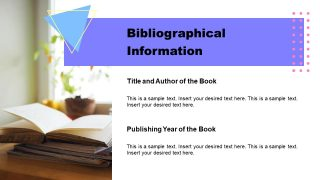 PPT Book Report Template for Bibliographical Information