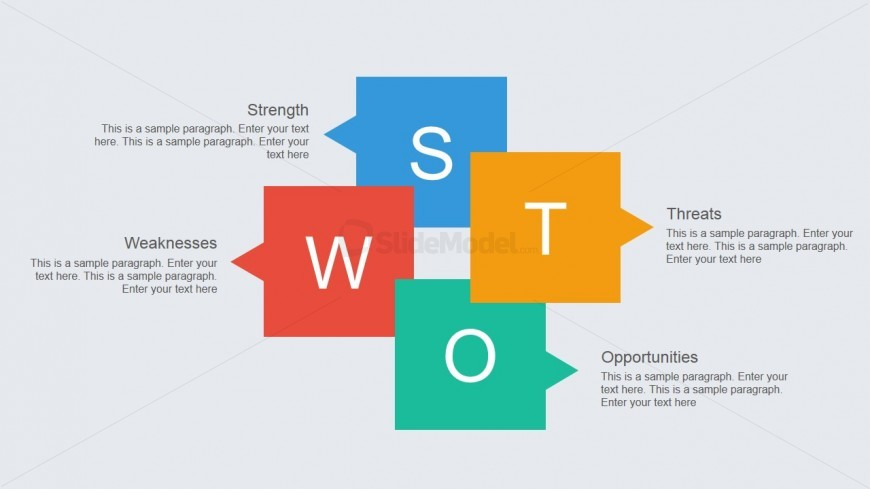 PowerPoint SWOT Analysis Modern Flat Design Slide