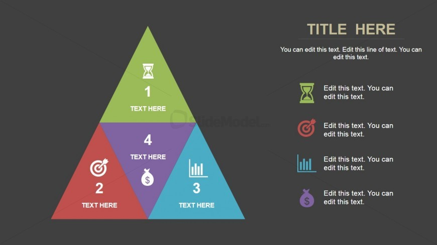 4 Elements Segmented Pyramid Diagram for PowerPoint