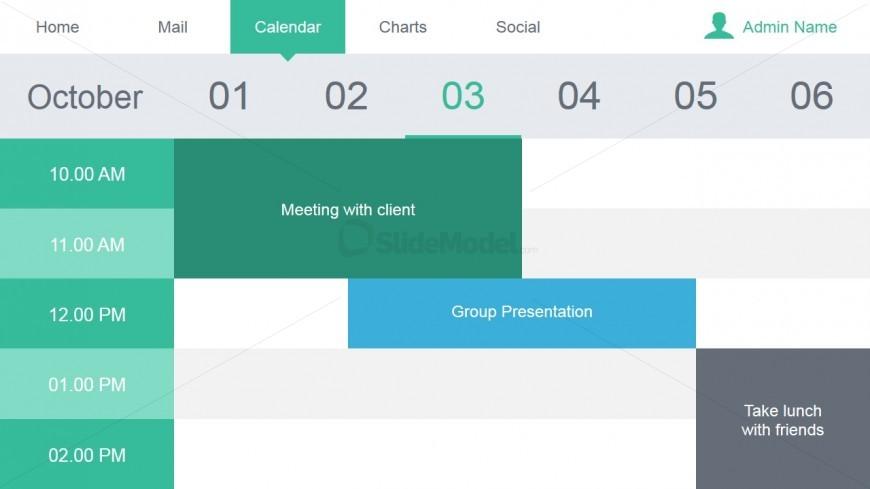 Calendar Slide Design for Data Dashboard