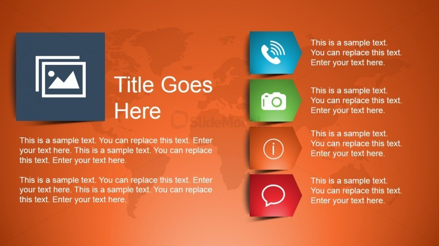 Product Slide Design with 4 Text Boxes