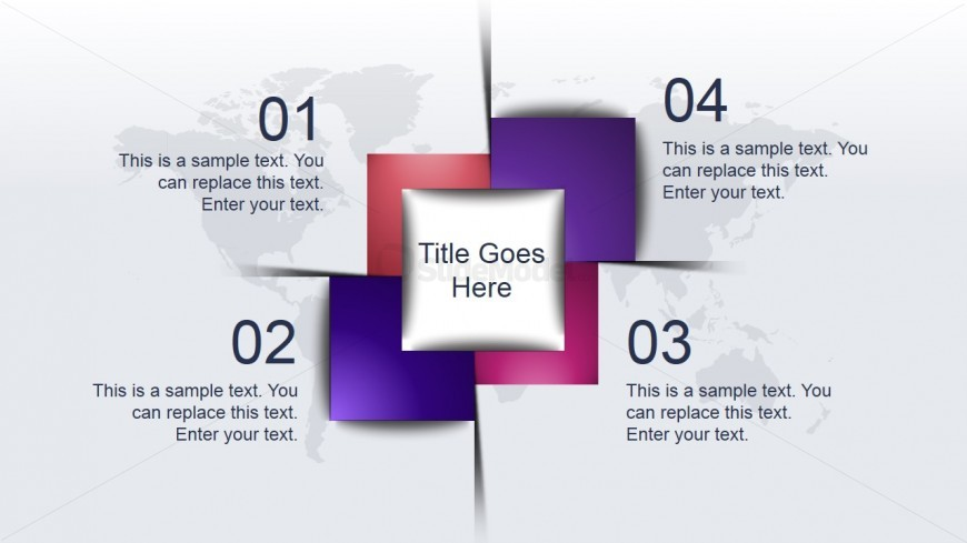 4 Items Awesome Shape Layout Idea for PowerPoint