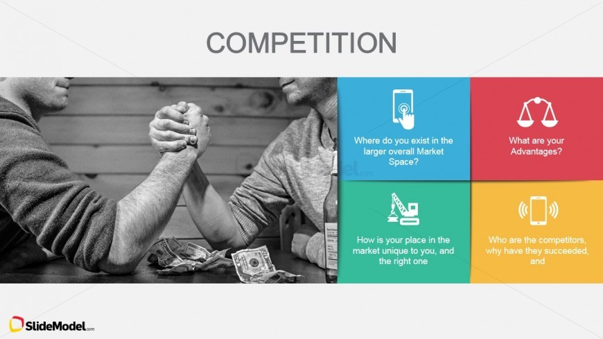 Slide Showing to Men hand Wrestling Metaphor for Competition