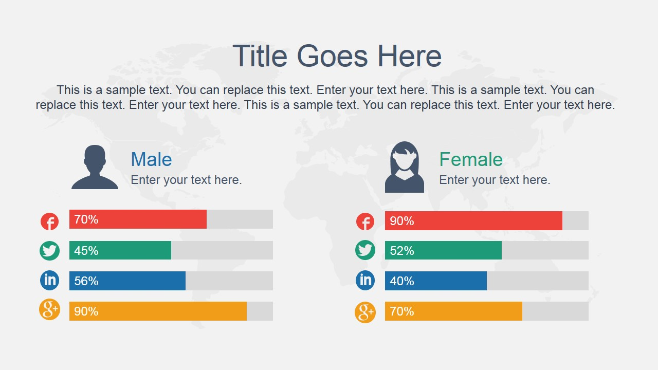 Comparison slide male vs female slidemodel for Powerpoint theme vs template