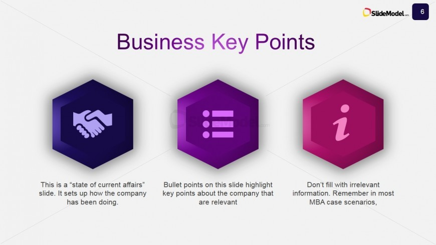 Slide Design for Business Key Points Description
