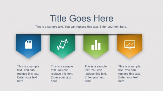 Four Content Tags with PowerPoint Icons Side Design