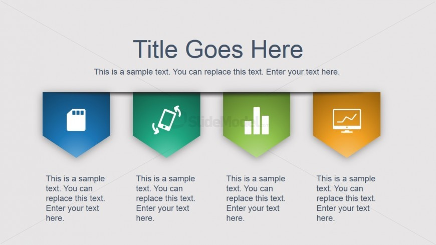 four content tags with powerpoint icons side design slidemodel