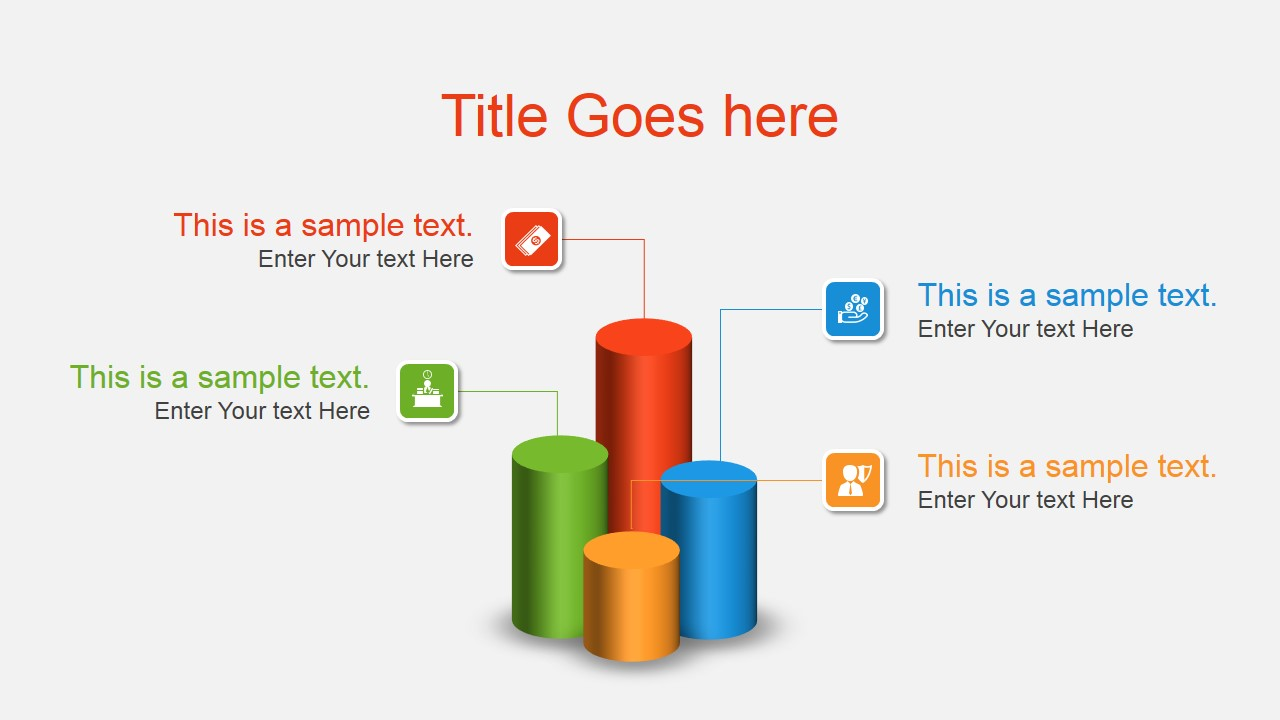 3d cylinder column chart concept for powerpoint
