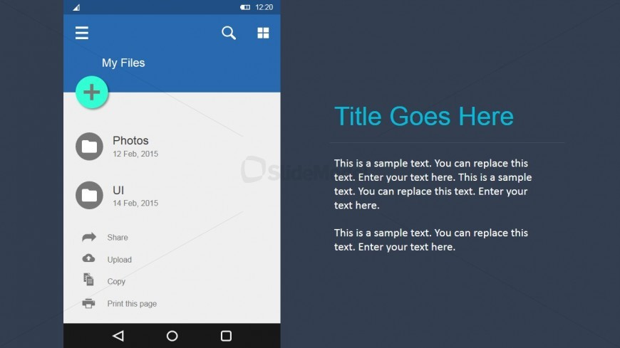 PowerPoint Shapes for Files and Folders Android UI