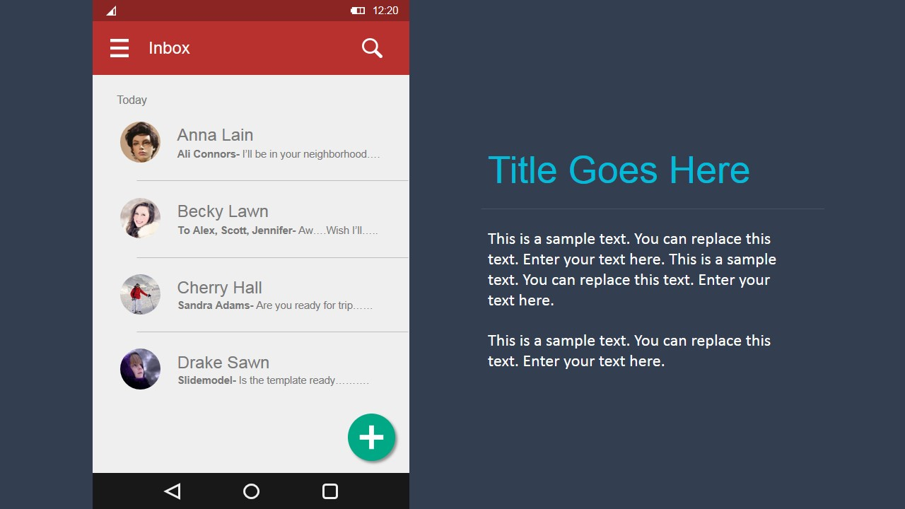 PowerPoint Email Inbox Android Materials Design UI Kit