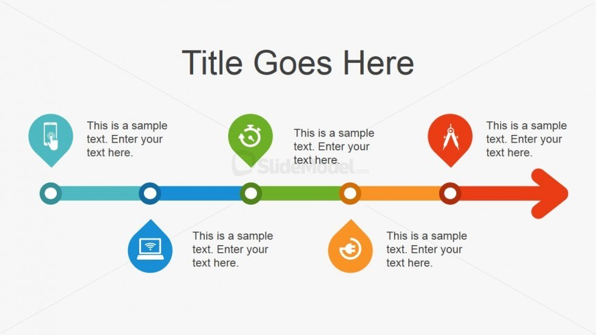 Simple Art Timeline : Simple flat timeline design for powerpoint slidemodel