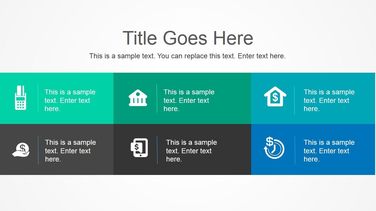 PowerPoint Six Cells Tiles Layout Flat Design