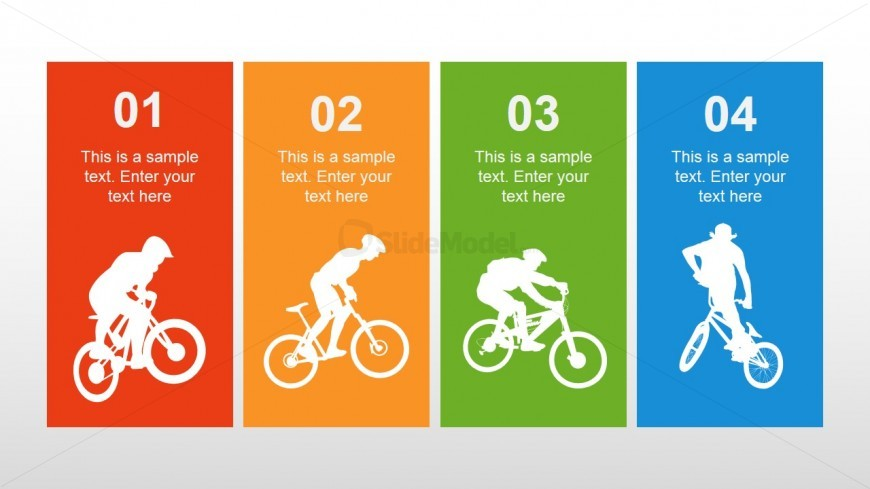 4 Text Columns with Bike Icons for PowerPoint