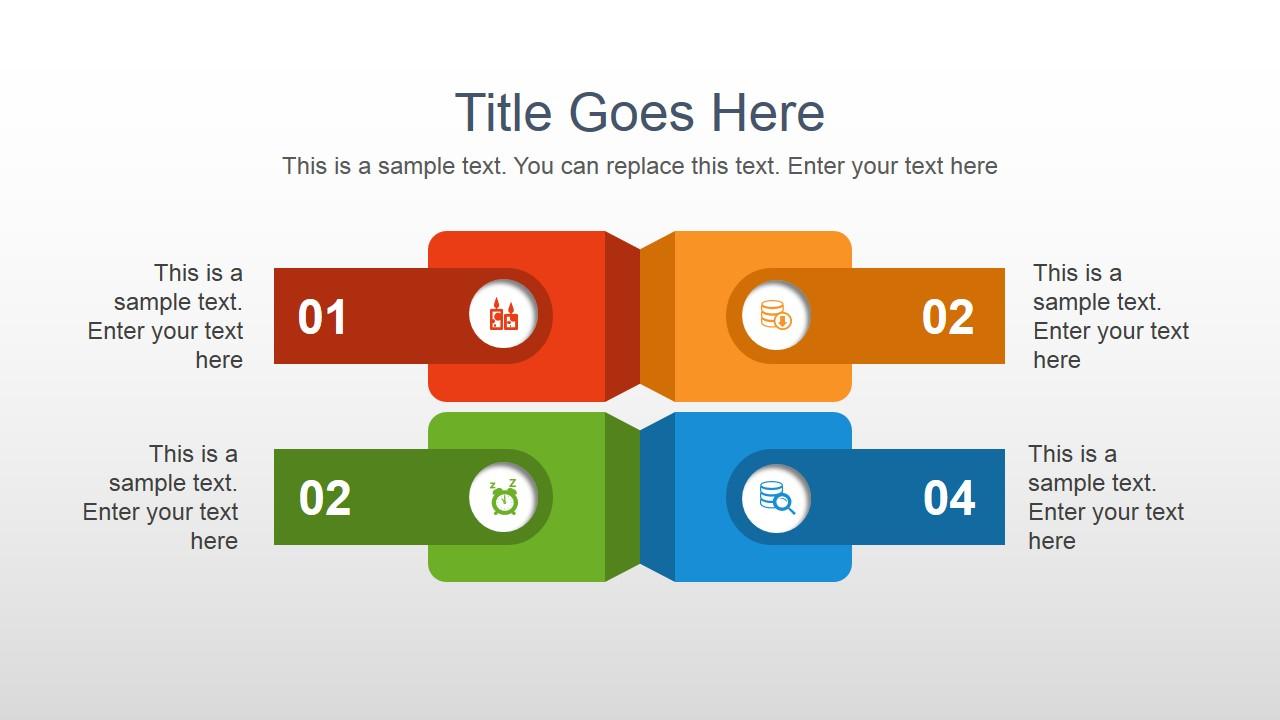 Colorful four quadrants in a powerpoint slide slidemodel toneelgroepblik Images