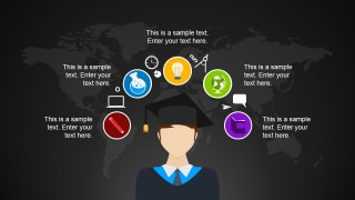 Graduation Cartoon Illustration with PowerPoint Icons
