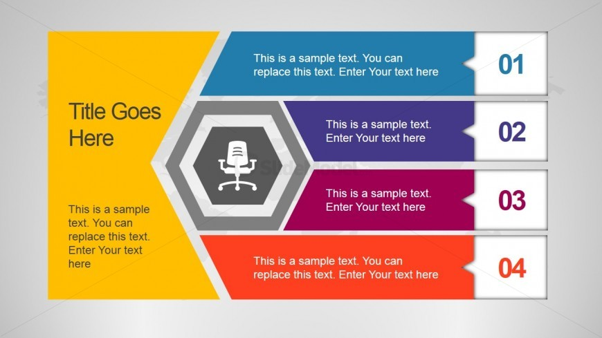 Unique Office Slide Design with Hexagon Shape and 4 Steps