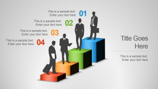 4 Steps Career Chart Design with Businessmen Silhouettes