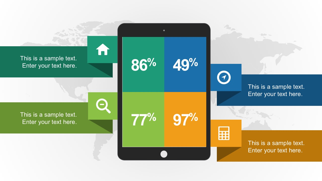 Computer Tablet vector with Percentage and Icons