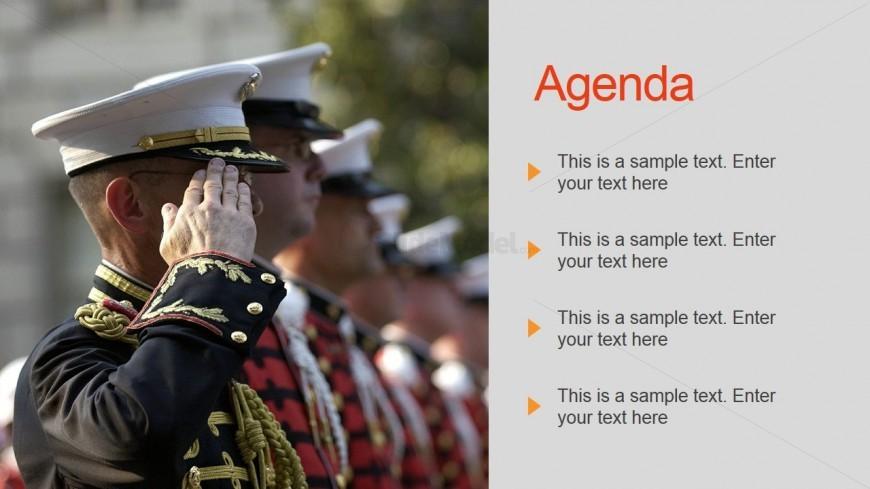 Agenda PowerPoint Slide Design for Military