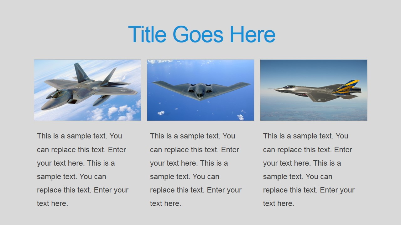 three tiles military air force powerpoint slide - slidemodel, Modern powerpoint