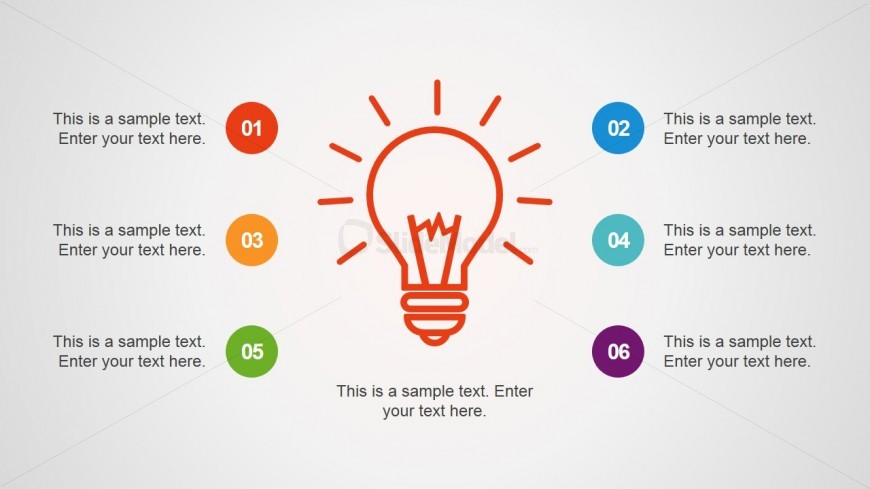 Light Bulb Shape with 6 Text Boxes