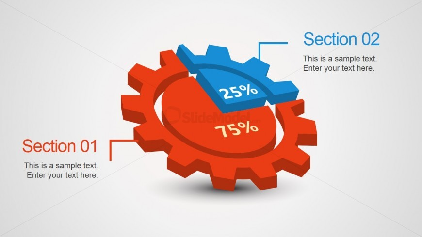 3D Gear Pie Chart Design