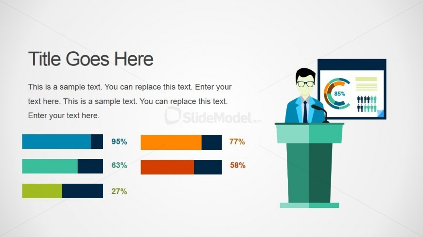 Presenter Illustration with Line Charts for PowerPoint