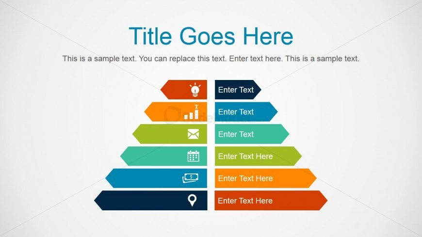 6 Step Creative Pyramid Diagram Graphic for PowerPoint