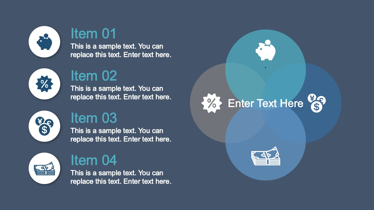 PowerPoint Venn Diagram with Icons Description