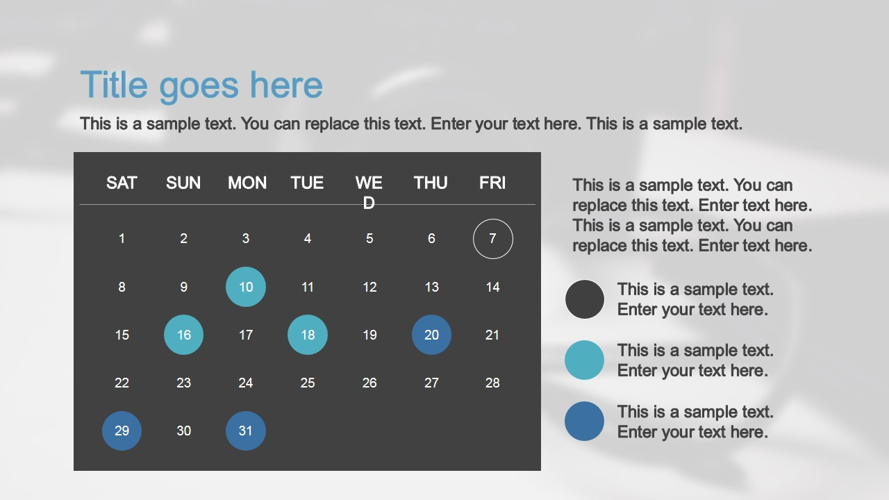PPT Template Calendar Slide Design
