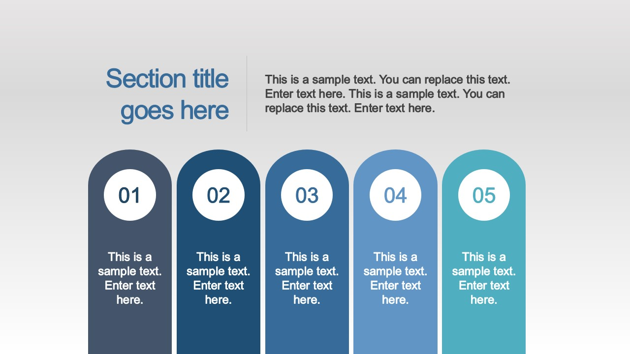 PPT Pillars Five Steps Diagram