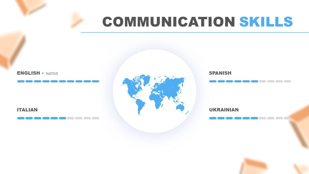Slide Communication Skills in Resume PowerPoint Template