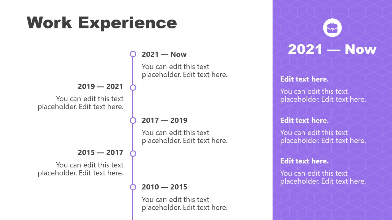 Job Experience Timeline Layout