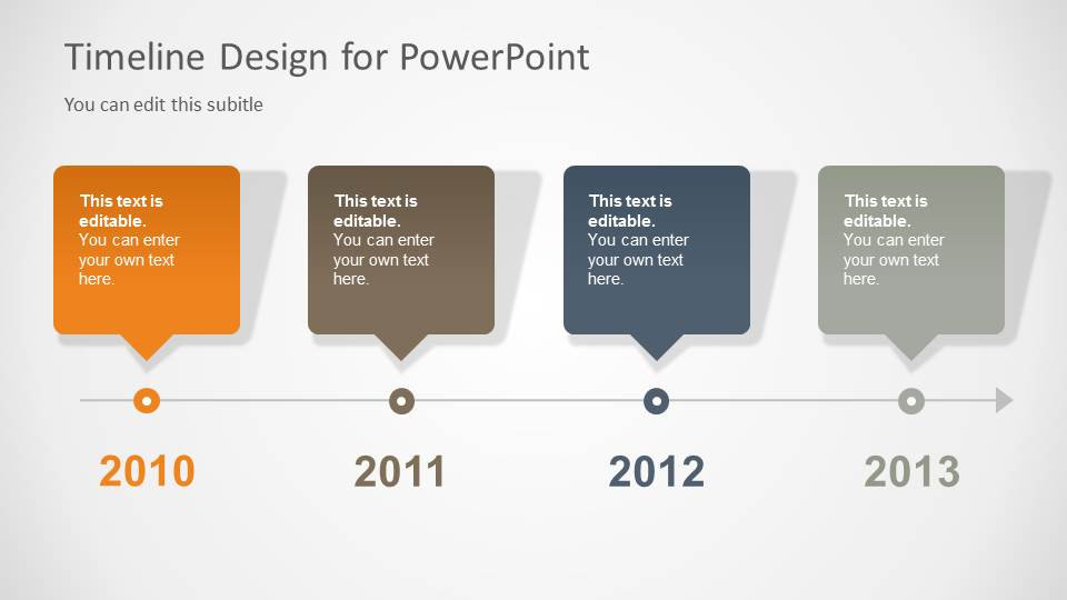 timeline slide design for powerpoint with 4 milestones slidemodel