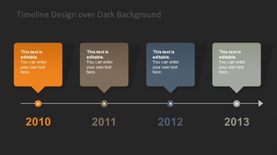 Horizontal Timeline Design Dark Background