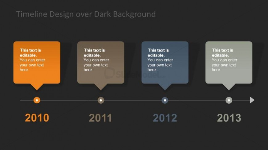 horizontal timeline design dark background