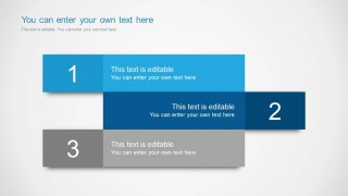 Example of text boxes with 3 editable text areas and descriptions including different blue and gray color tones.