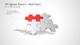 Four Puzzle Piece Template for PowerPoint - Red Piece