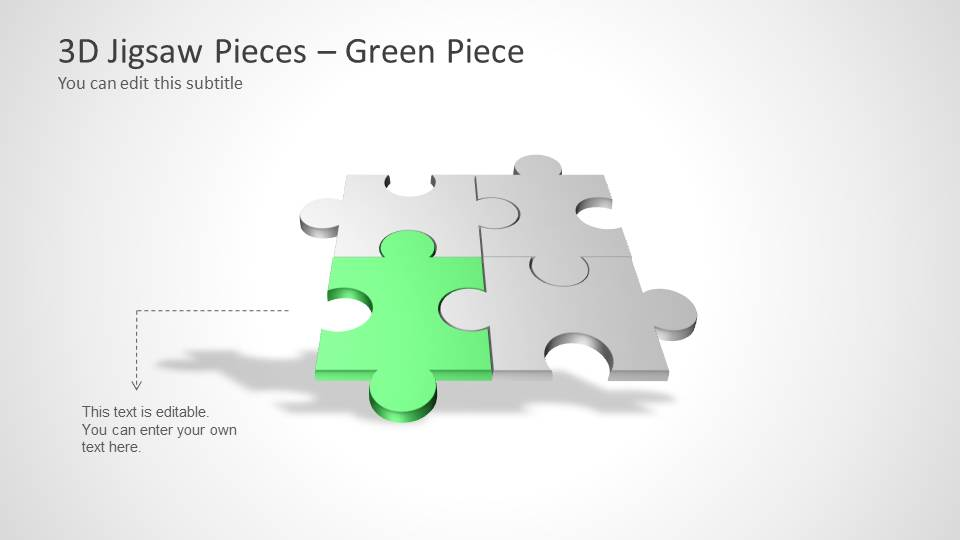 Four Puzzle Piece Template For PowerPoint Green