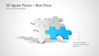 Four Puzzle Piece Template for PowerPoint – Blue Piece