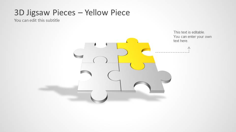 Four Puzzle Piece Template For PowerPoint Yellow