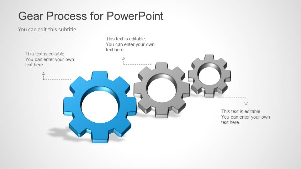 Three Gear Shapes for PowerPoint Process Diagram