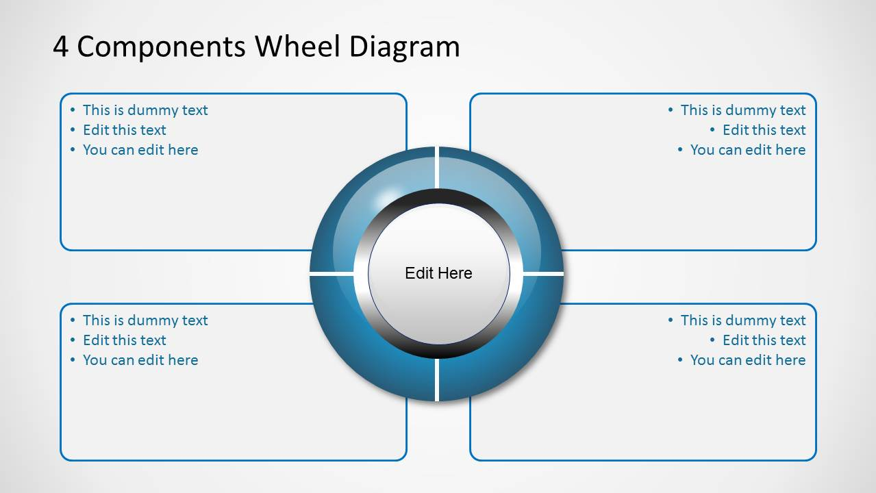 Wheel Diagram with 4 Components for PowerPoint