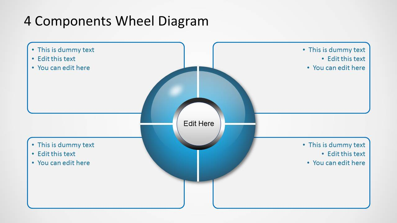 Blue    4 Components Wheel    Diagrams    for PowerPoint  SlideModel
