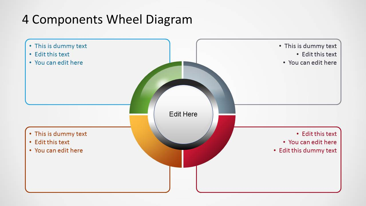4 Components Wheel Diagrams For Powerpoint