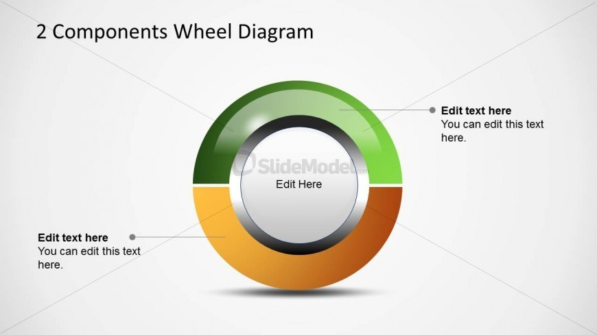 Simple Wheel Diagram Design for PowerPoint with 2 Steps