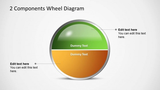 2 Halfs Circles Wheel Diagram for PowerPoint