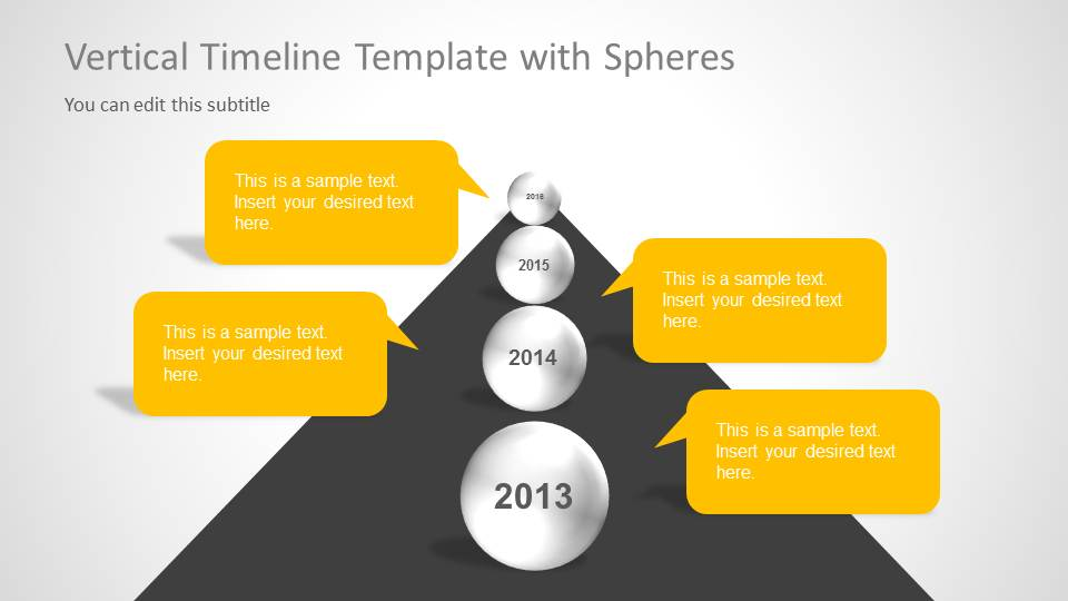 milestones with spheres slide design for powerpoint